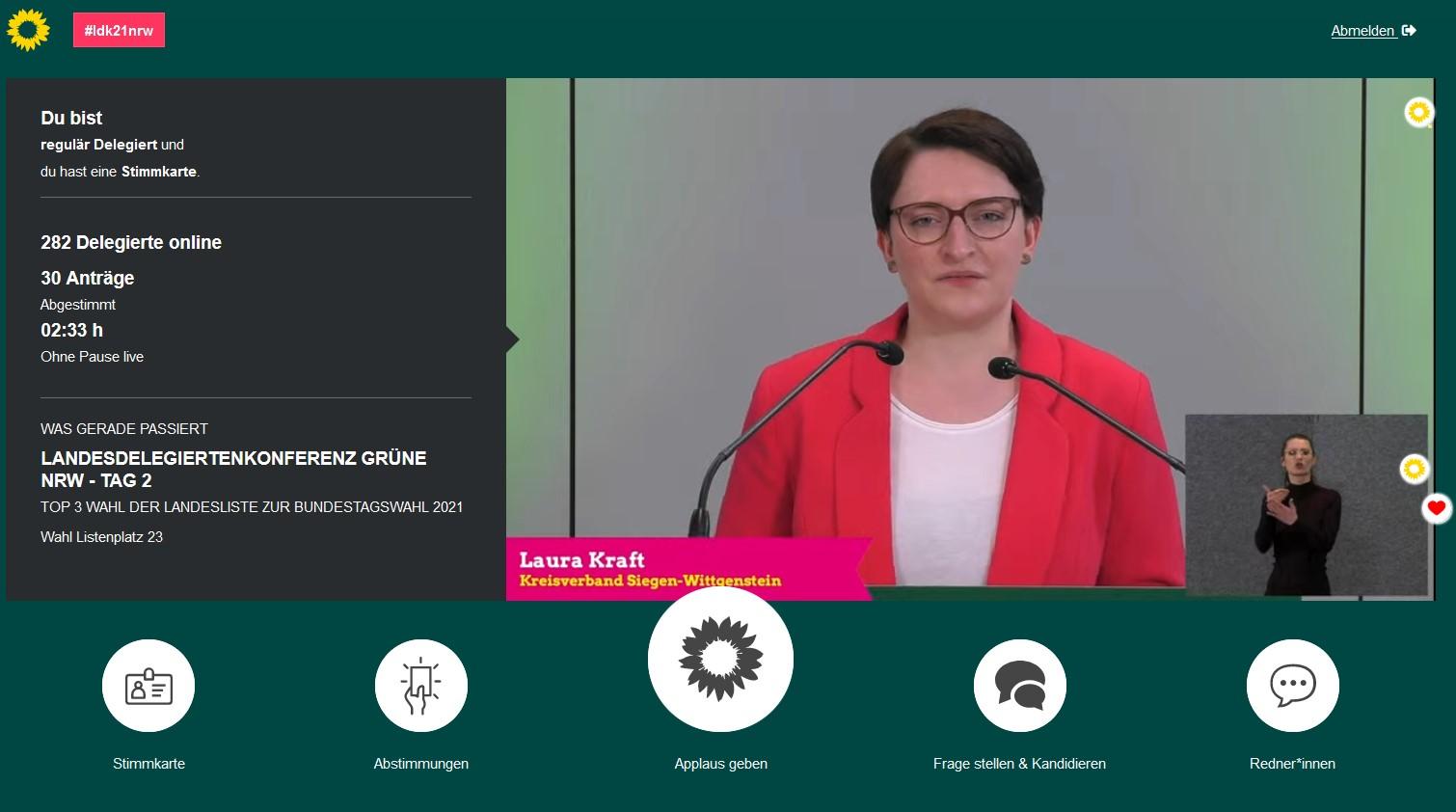 LDK   Landesdelegiertenkonferenz 09. bis 11. April 2021: Laura Kraft als unsere Bewerberin für den Bundestag